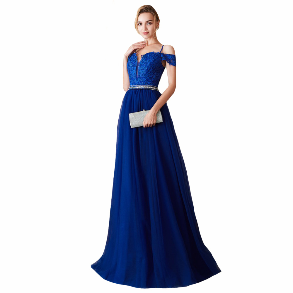 Royal Blue A Line   Bridesmaid     Dress   Backless Sexy Robe Demoiselle D'honneur V Neck Formal Wedding Party Women Guest   Dresses