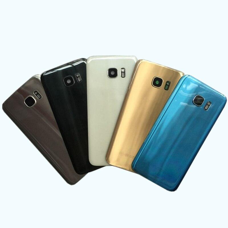Pour Samsung Galaxy S7 Bord G935 S7 G930 Couverture Arrière de Batterie Porte Logement de Remplacement Pièces De Rechange + Caméra arrière En Verre lentille Cadre