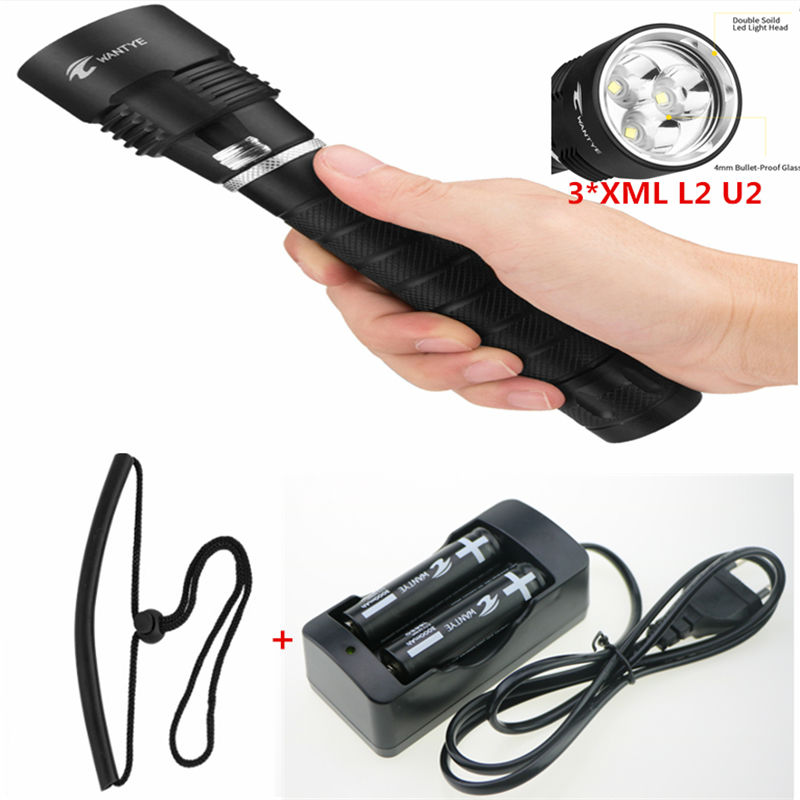 6000LM Dive XM-L2 L2 Diving Flashlight  3L2 Waterproof LED Underwater Torch Lamps Lantern+2x18650 battery+Charger zk30 led cree xm l2 diving 5000lm flashlight dive torch military lamp waterproof underwater 120m torch for diving lantern