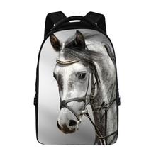 Trendy 3D Animal Horse Printing School Backpack Cool Men Women Travel Backpacks Teenager Boys Girls Laptop Backpack Mochila