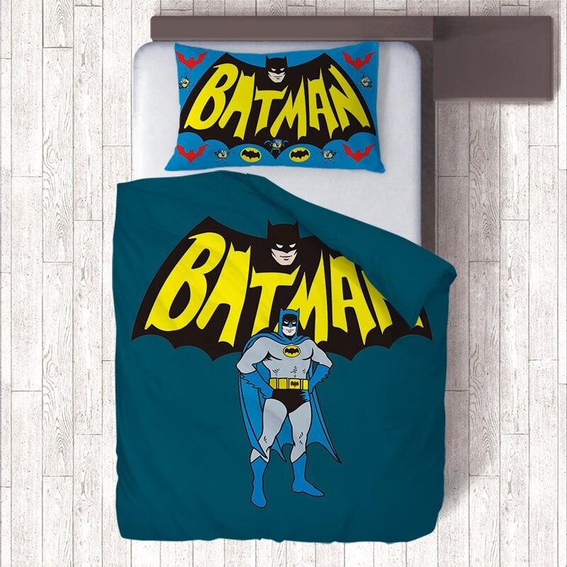 Captain America/Batman Kids Bedding Set,Cheap Duvet Covers Pillow Case Single Quilt Sets,Housse de Couette Almohada