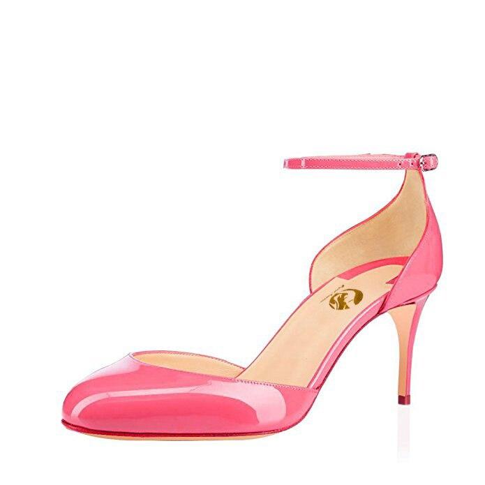 Ayakk.'ten Yüksek Topuklular'de Orijinal Amaçlı Moda Kadın Sandalet Yuvarlak Ayak Ince Topuklu Sandalet Siyah Fuşya Fildişi Çıplak Pembe Ayakkabı Kadın Artı Boyutu 4  15'da  Grup 1