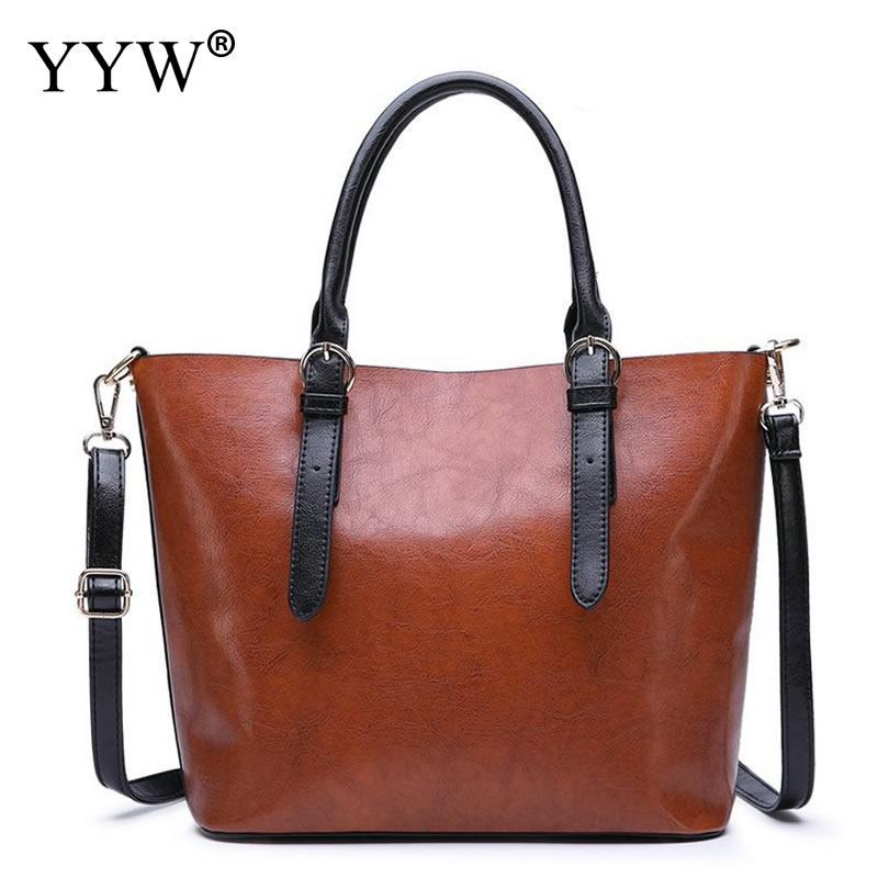 d7eef8d294a6 Коричневые кожаные сумочки большой Для женщин сумка Высокое качество  Повседневная Женская обувь сумки багажник тотализатор испанского