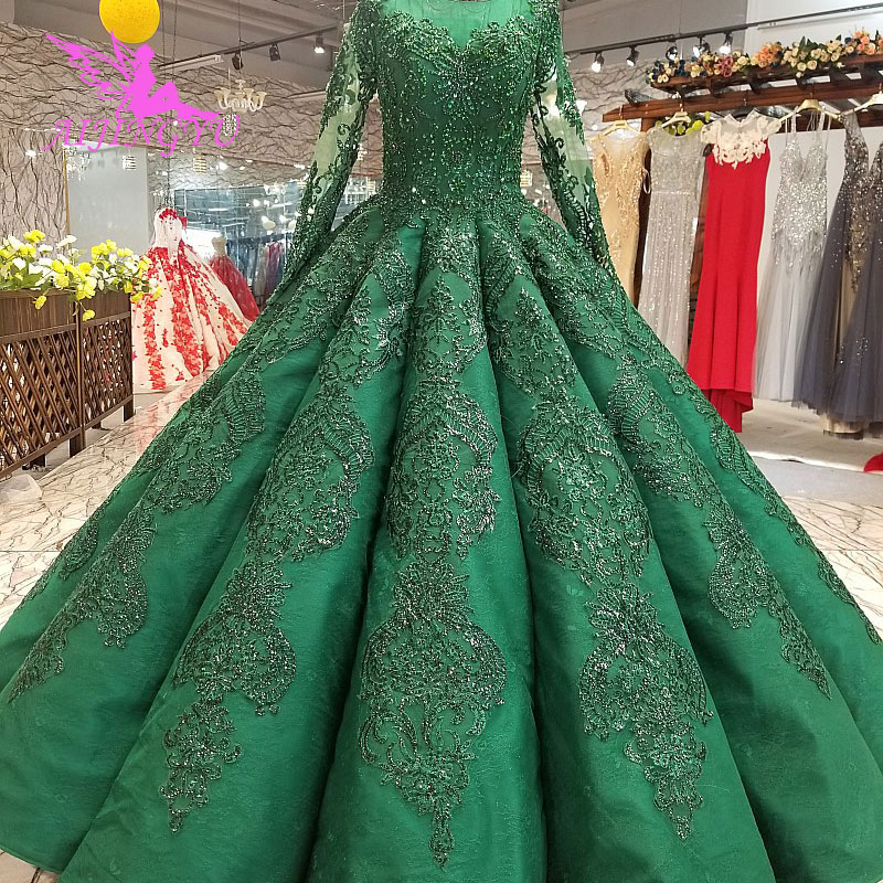 AIJINGYU Dubai Muslim Wedding Dresses Cord Luxury Plus Size Tulle White Reception Gown Lace Wedding Dress And Get Free Shipping