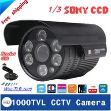 1000TVL Водонепроницаемая Камера Открытый CCTV Безопасности ИК Ночного Видения 3.6-12 мм Объектив Дополнительно С Кронштейн Как Подарок