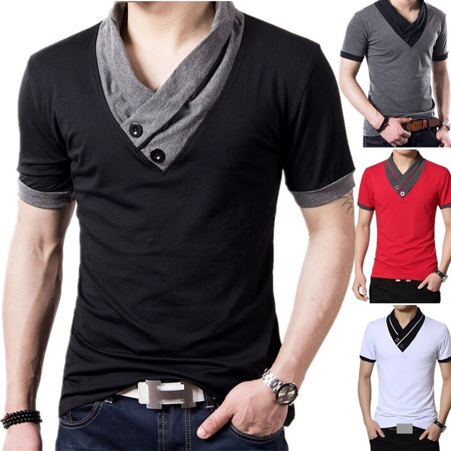 ZOGAA 2019 summer men V-neck T-shirt multi-color fashion casual fitness ice silk 3 color large size S-3XL