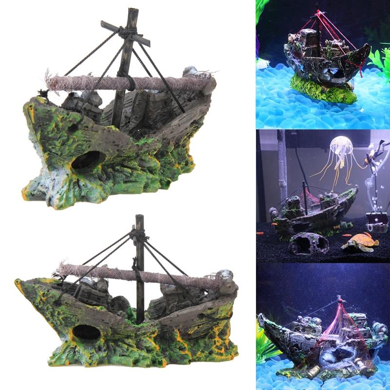 Fish tank decoration cave decor sailing boat shipwreck for Fish tank shipwreck
