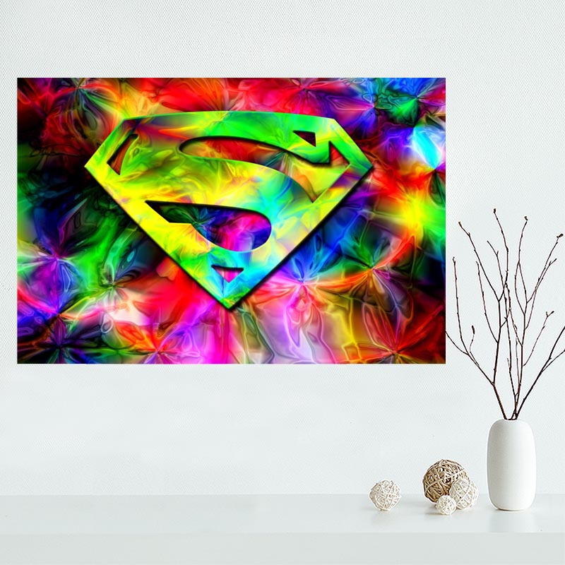 Nice Superman <font><b>Logo</b></font> <font><b>Poster</b></font> Custom Canvas <font><b>Poster</b></font> Art Home Decoration Cloth Fabric Wall <font><b>Poster</b></font> Print Silk Fabric image