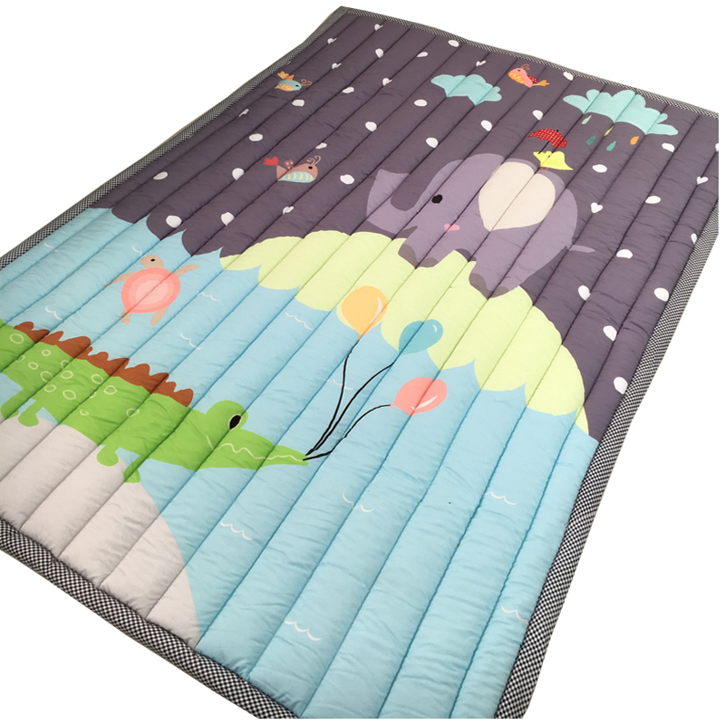 Baby Gym Play Mat Toddle Living Room Non-slip Game Blanket Cartoon Print Baby Crawling Mat Kids Gym Activity Game Playmat