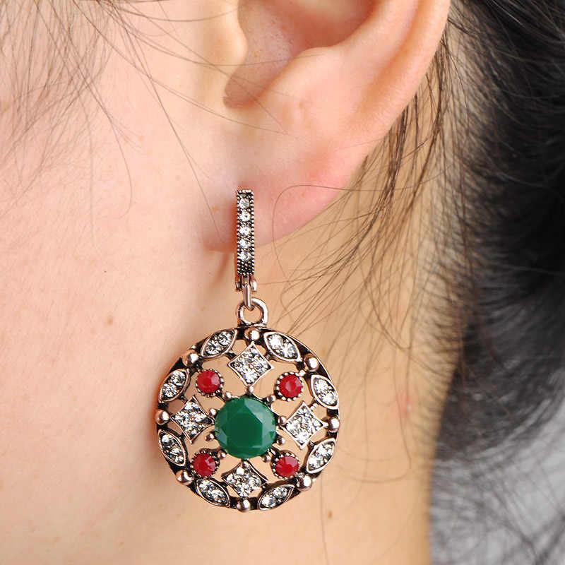 Blucome venda superior bijoux verde turco brincos de jóias para as mulheres vintage redondo princesa ganchos longo brinco max brincos