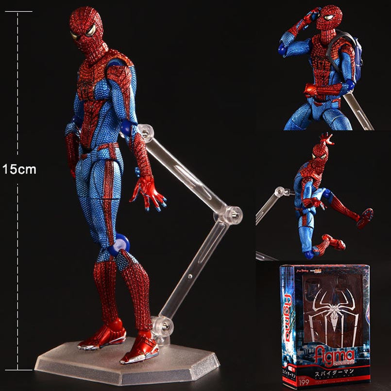 6 15CM PVC Movable Spider Man Action Figure The Amazing Spiderman Figure Figma 199 Ultimate Justice league spider-man Toys