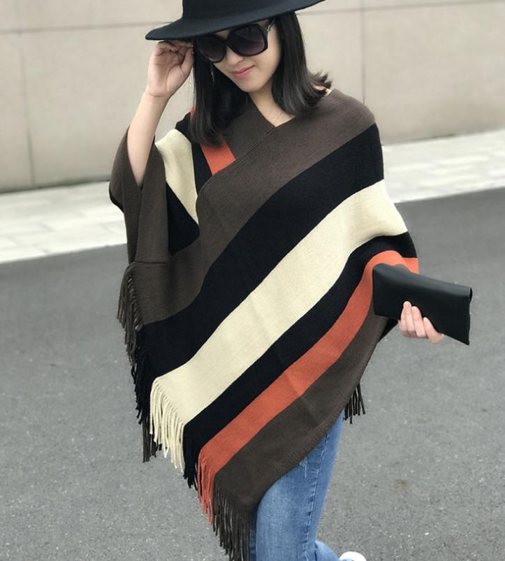 Knitting stripe tassel  Winter Acrylic scarf wraps pashmina women scarfs thick Dual shawl hijab poncho for ladies