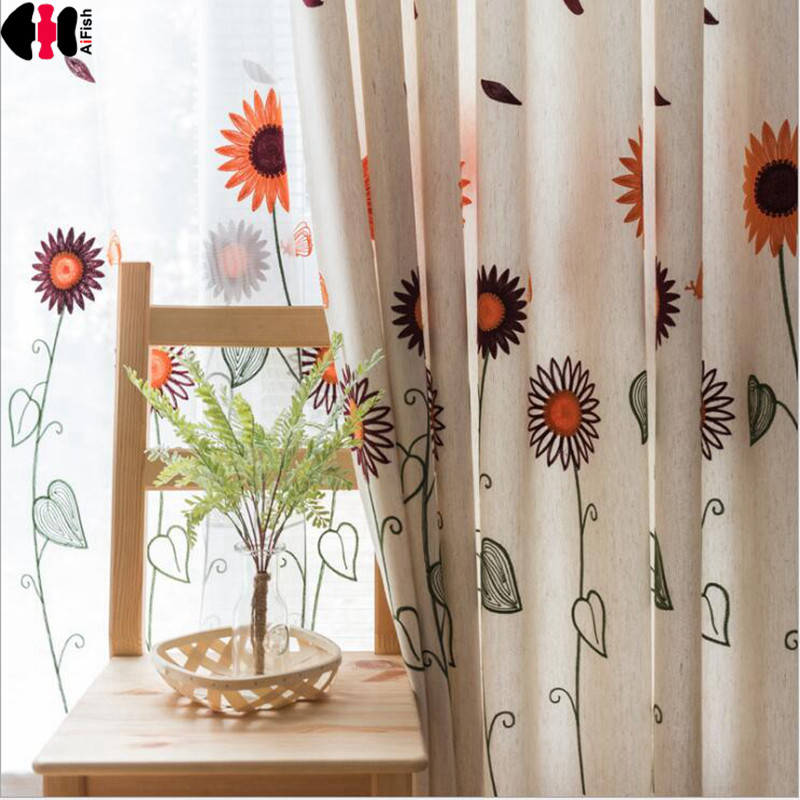 Past Orange Sunflower Embroidered Curtains Blackout Kids Children Boys Nursery Window Treatment Blinds L011c