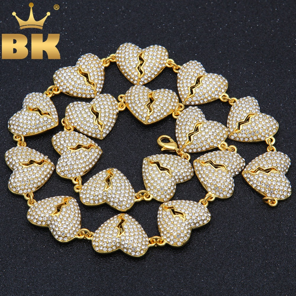 New Broke Heart Necklace For Men Full Iced Out Rhinestones Gold Silver Color Fashion Hiphop Jewelry Drop ShippingNew Broke Heart Necklace For Men Full Iced Out Rhinestones Gold Silver Color Fashion Hiphop Jewelry Drop Shipping