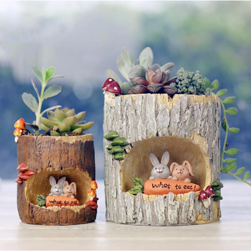 HTB1M0cii5MnBKNjSZFoq6zOSFXaw - Modern Wooden Resin Bonsai Succulents Pot Retro Permeable Ceramic
