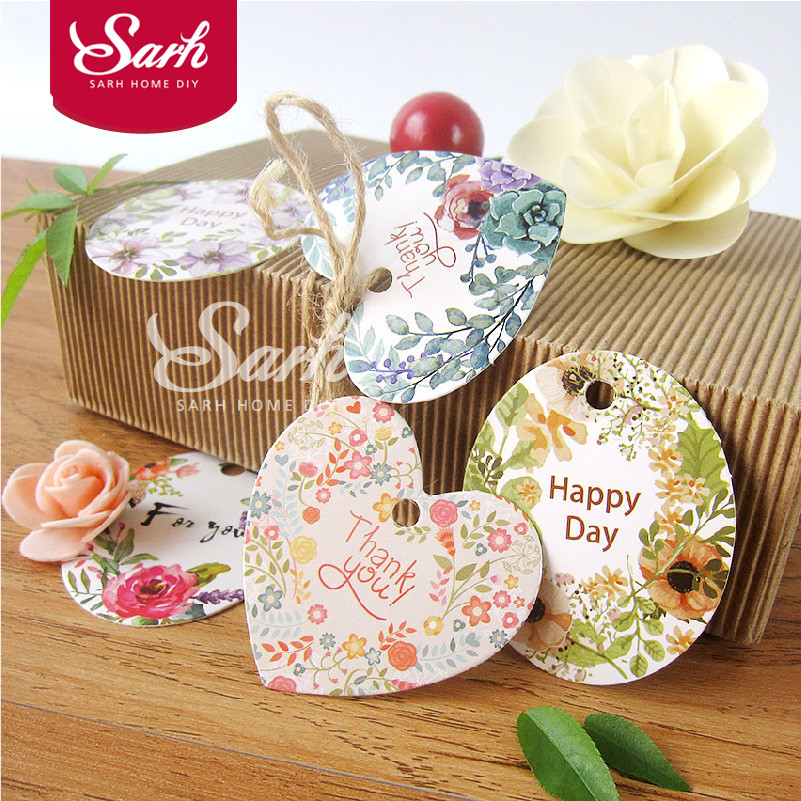 50pcs/lot Gift Packing Watercolor Countryside Flower Cake ...