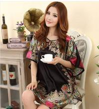 2016 new Summer Sexy Silk Nightgown Sleepshirts Women Plus Size Sleepwear Lounge Casual Satin Silky Nightwear Female Dress