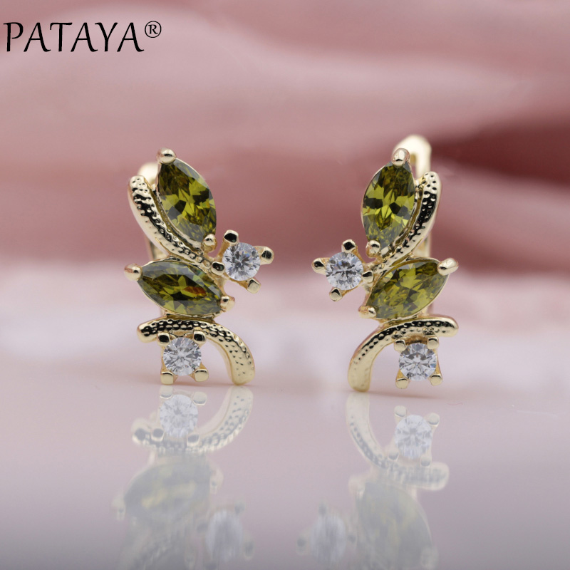 PATAYA New Olive Green Drop Earrings 585 Rose Gold Natural Zircon Inlay Brinco Turkey Antique Jewelry Chandelier Dangle Earrings