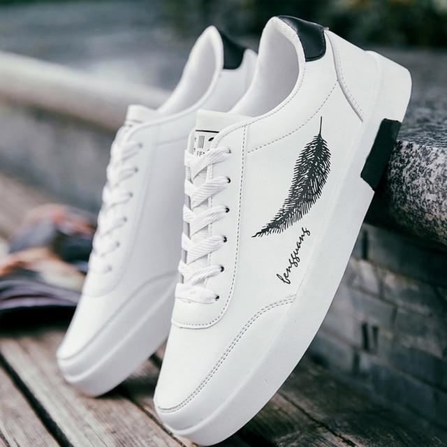 Bianco degli uomini di Vulcanize Scarpe lace-up stampa resistente scarpe  casual da uomo scarpe da ginnastica di marca scarpe da uomo di lusso marca  2019 ... 8e841794bf7