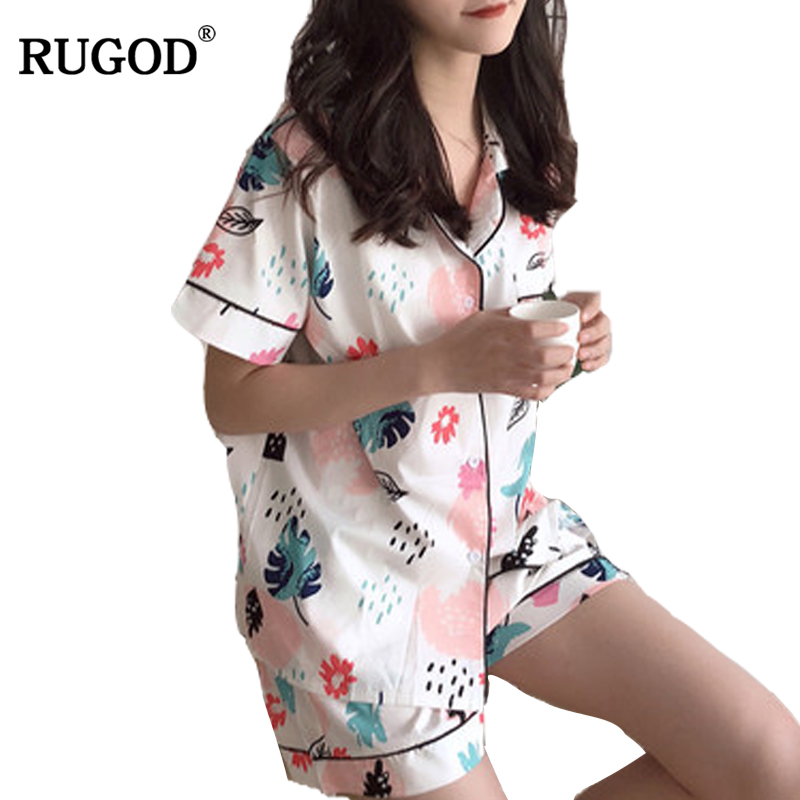 RUGOD Printed Cotton Comfortable Pajamas For Women High Quality Knitted Short Sleeve Pajamas Women With Shorts 2018 Spring ...
