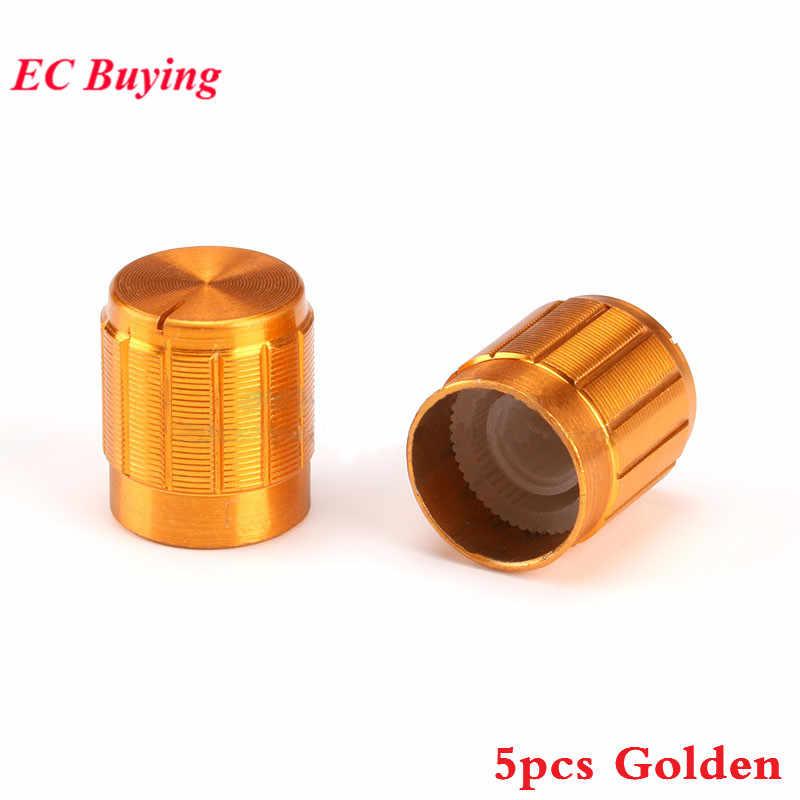 5 pcs 15 MM 15 Puxadores De Alumínio Cap Botão Potenciômetro Diâmetro x 16.5 milímetros de Ouro Cor de Ouro Tampas Coloridas Eletrônico componente