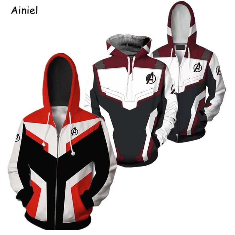 Avengers Endgame Quantum Realm Hoodies Sweatshirt Superhero Captain America Iron Man Hulk Ant-Man Hoodie Coat Jacket Men Women