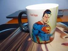 Superman tazas tazas mágicas morphing calor revelan morph viajes taza de cerveza taza de café calor cambio de color de impresión de la porcelana de Té de viaje