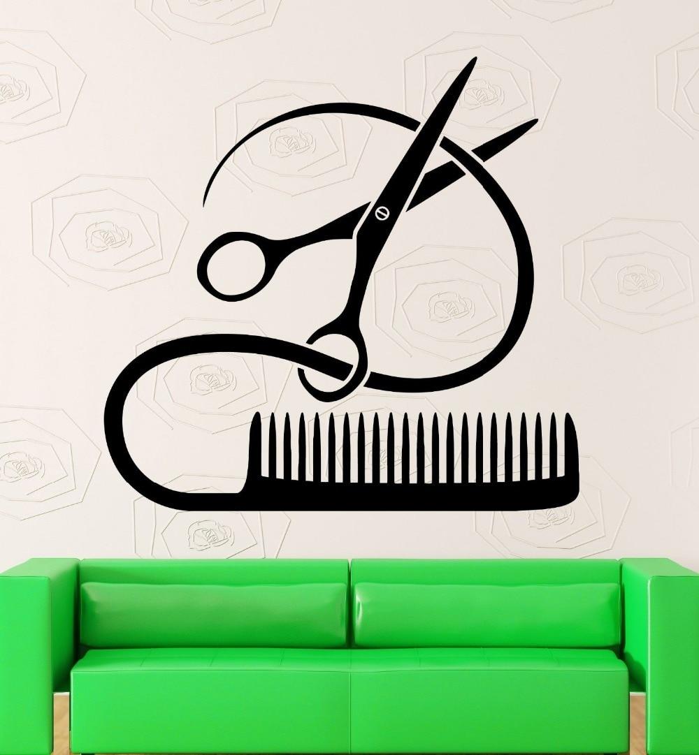 Hair Spa Beauty Salon Wall Sticker Scissors Comb Vinyl Sticker Mural