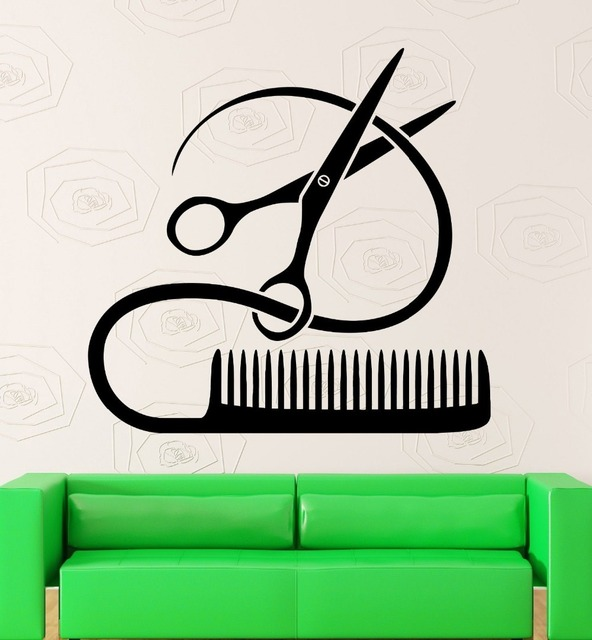 Salon Wall Decor aliexpress : buy hair spa beauty salon wall sticker scissors
