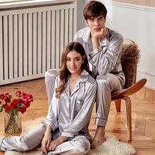 Xifenni Silk Pajama Sets Female Silky High Quality Faux Couple Sleepwear Man Woman Clothes Pants Two-Piece X9942