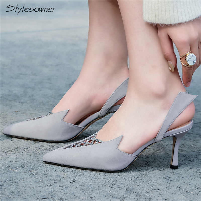 Stylesowner Shallow Mouth High Heel Pumps Hollow Out Women High Heels Pumps Elastic Band High Heels Pointed Toe Summer Shoes New пуловер quelle rick cardona by heine 3918