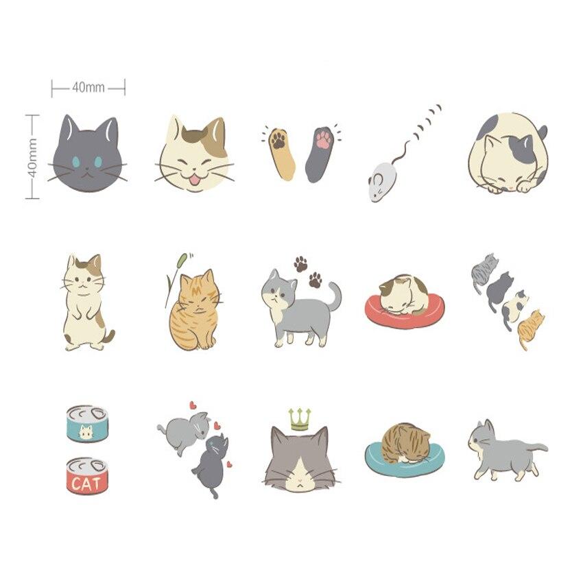 Купить с кэшбэком 45pcs/box Lovely Cat Diary Decoration Mini Stickers DIY Scarpbooking Sticker Stationery