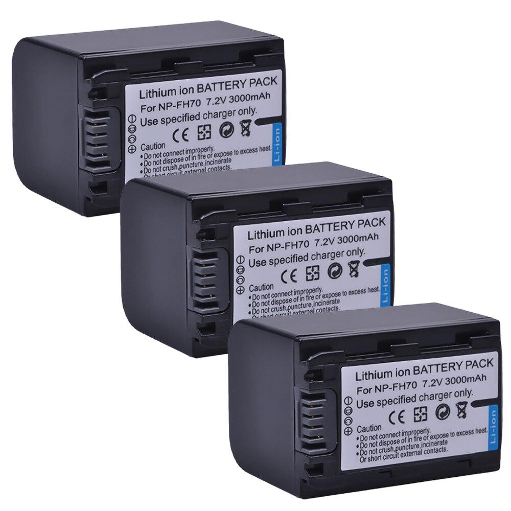 3 pièces 3000 mAh NP-FH70 NP FH70 NPFH70 Batterie pour Appareil Photo Sony NP-FH30 NP-FH40 NP-FH50 cyber-shot DSC-HX1 Alpha DSLR-A230 Série
