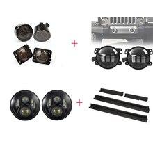 7 дюймов фары и 4 «круглый светодиодный Противотуманные фары и 4» круглый светодиодный Противотуманные фары и входные охранники для Jeep Wrangler