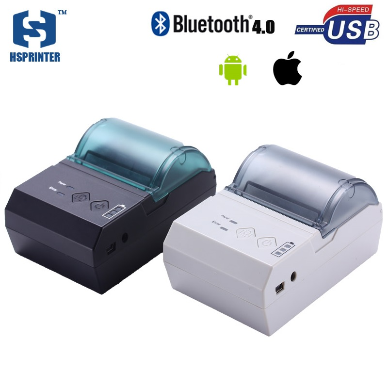 2 inch pocket android pos thermal receipt bluetooth printer HS-E20UAI portable usb bill printing machine 58mm impresora termica