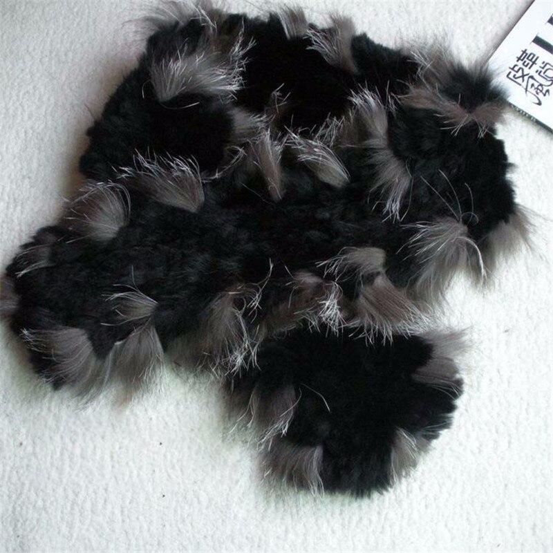 Women Genuine Knit Rex Rabbit Fur silver fox Scarves Wraps Winter female Fur Accessory Neck warmers