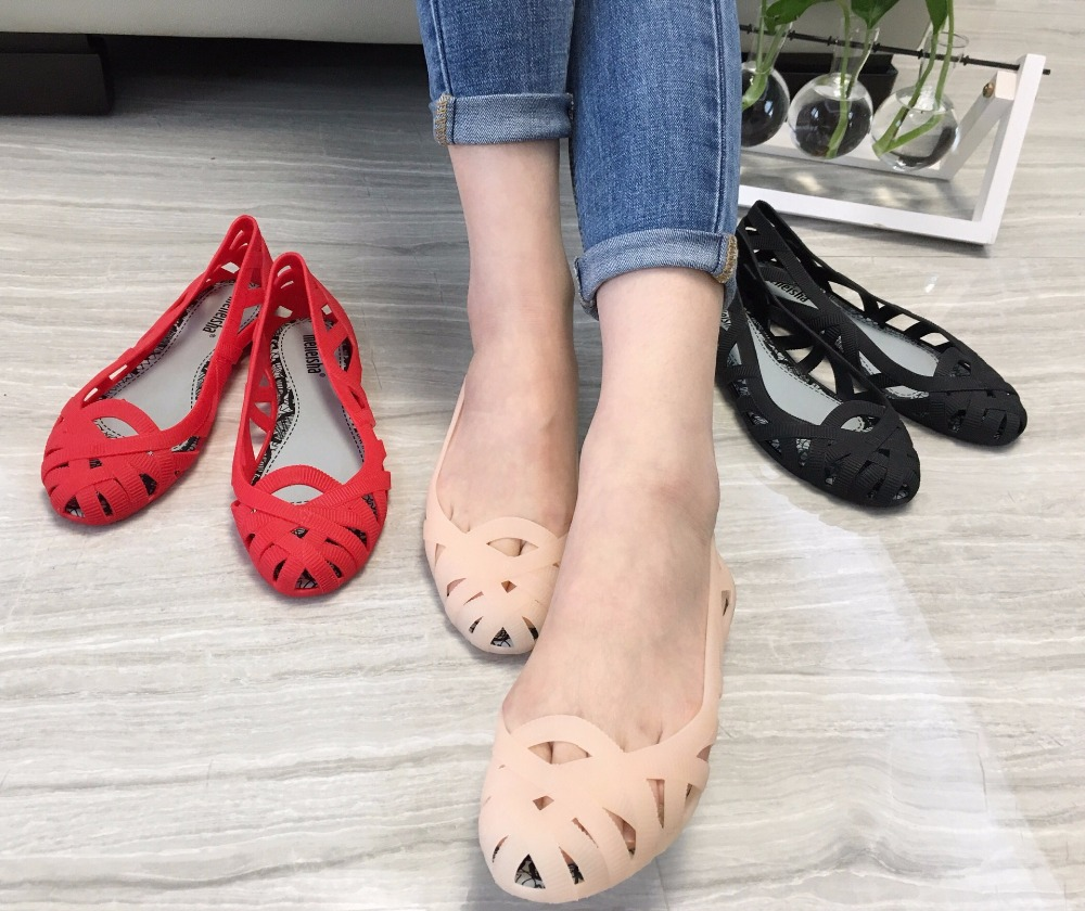 Mini Melissa 2020 New 3 Colors Roman Girl Jelly Sandals Breathable Slip Melissa Girl Shoes Women Beach Sandals 22.5-24.5cm