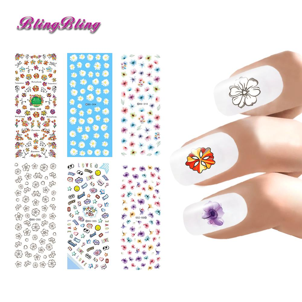 Blingbling Cartoon Water Transfer Nail Stickers Butterfly Feather ...