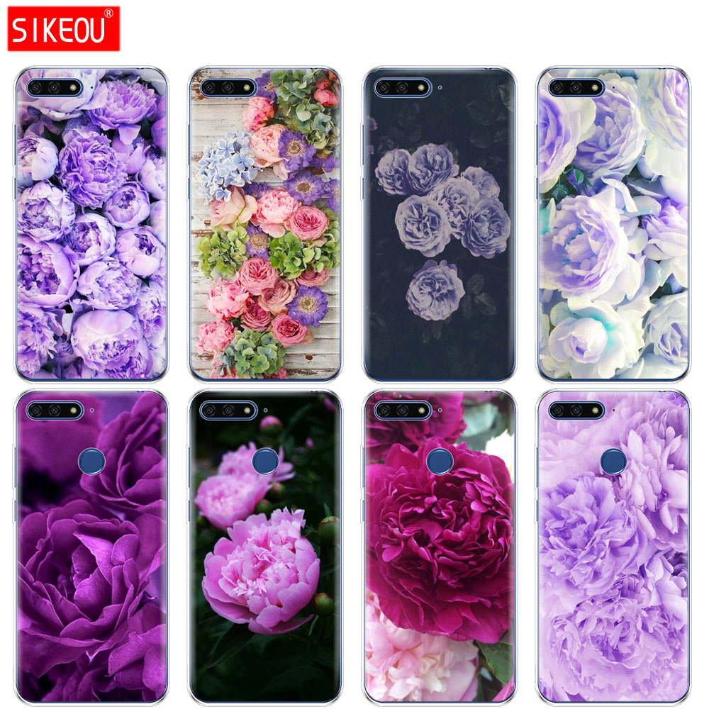 <font><b>Silicone</b></font> Cover Phone <font><b>Case</b></font> For <font><b>Huawei</b></font> Honor 7A PRO 7C Y5 <font><b>Y6</b></font> Y7 Y9 2017 <font><b>2018</b></font> Prime purple <font><b>Summer</b></font> peonies flowers peony Fashion image
