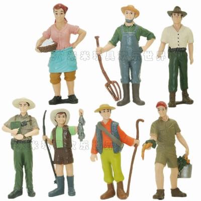 ПВХ Рисунок моделирование фермер модель фермер ранчо Пластик кукла модель 8 шт./компл. ...