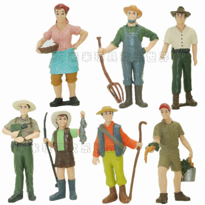 pvc figure Simulation Farmer Model Farmer Farmer Farmer Rancher Plastic Doll Model 8pcs/set