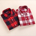 2016 Dioufoud New Plaid Shirt Women Cotton Blouse Long Sleeves Ladies Tops Turn-Down Collar Camisetas Women Blouses Plus Size