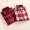 2016 Dioufoud Novo Camisa Xadrez de Algodão Mulheres Blusa de Mangas Compridas Senhoras Tops Turn-Down Collar Camisetas Mulheres Blusas Mais tamanho