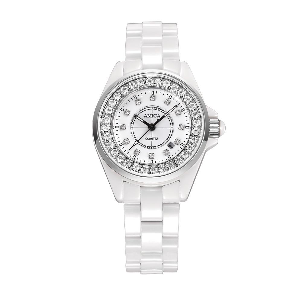 Amica Women's D-Ceramics Quartz Sapphire Silver Tone Stainless Steel Wrist Watches A5-11 amica women s d ceramics quartz sapphire silver tone stainless steel wrist watches a 1 5