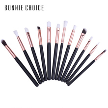 BONNIE CHOICE Makeup Eye Brushes Set Soft Portable Beauty Eyeshadow Cosmetic Brush Tools Wooden Handle 12Pcs