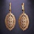 Blucome luxo big oval brincos para as mulheres cz zircon ródio cobre banhado a ouro de casamento brincos de noiva aretes mujer bijoux