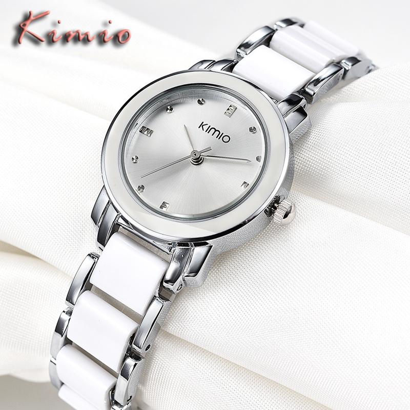 Prix pour KIMIO Marque Dames Imitation Céramique Bracelet Montres Top De Luxe D'affaires Décontractée Horloge Femmes De Mode Blanc Montre À Quartz