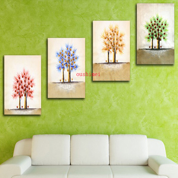 Wholesale Handmade 3 Piece Landsacpe Oil Painting On Canvas Wall Stickers Painting Pictures For Bedroom Office Tree Wall Art