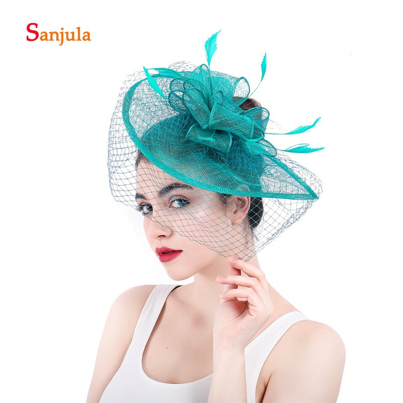 b4adc242f3e91 Detail Feedback Questions about Water Sharp Bridal Hats with Face Veil  Feathers Linen Fascinators Women s Formal Party Hair Accessories gelin  aksesuarlar ...