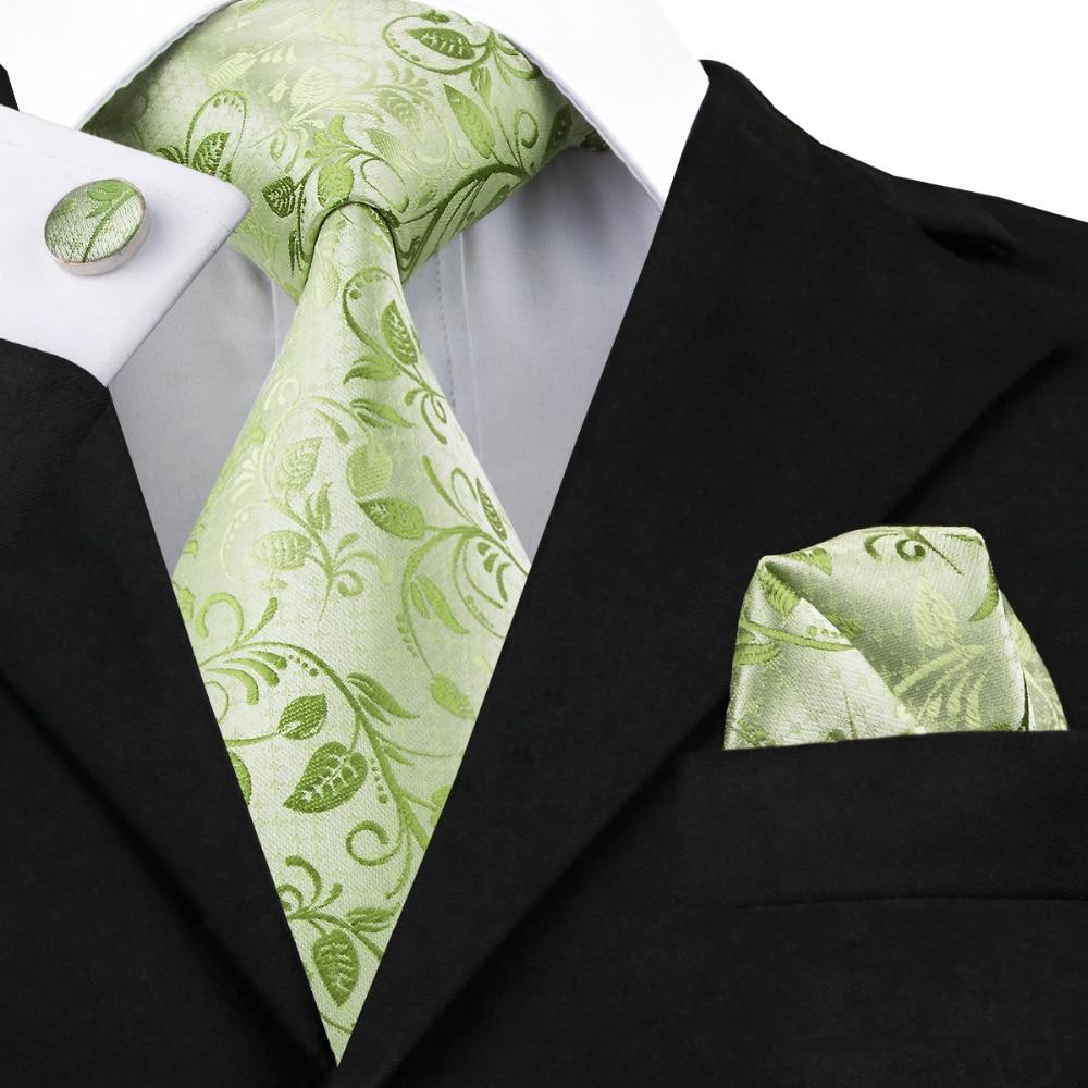 C-1162 Fashion Green Floral Necktie Hanky Cufflinks Set 100% Silk Ties For Men Formal Business Wedding Party